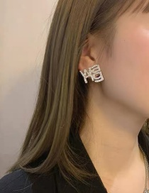 Fashion Silver Hollow Earrings With Diamond Letters