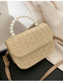Fashion Khaki Straw Pearl Clamshell Shoulder Bag