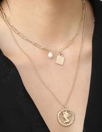 Fashion Golden Pearl Portrait Round Brand Hollow Alloy Multilayer Necklace
