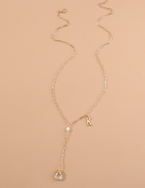Fashion Golden Waterdrop Natural Stone Letter Pearl Alloy Tassel Necklace