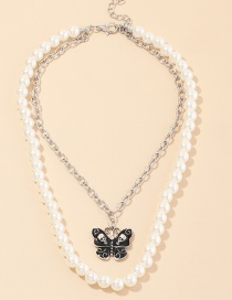 Fashion Silver Pearl Skull Alloy Butterfly Double Necklace