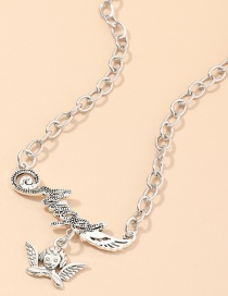 Fashion Silver Angel Wing Alphabet Alloy Necklace