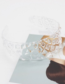 Fashion White Transparent Crystal Disc Resin Pineapple Pattern Wide-brimmed Hair Band