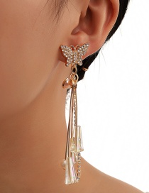 Fashion Golden Diamond Pearl Crystal Tassel Long Butterfly Stud Earrings