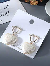 Fashion White Hollow Pearl Love Heart With Gold Earrings