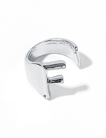 Fashion White Kf Alloy Letter Wide Edge Cutout Ring