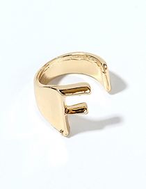 Fashion Kc Gold-f Alloy Letter Wide Edge Cutout Ring