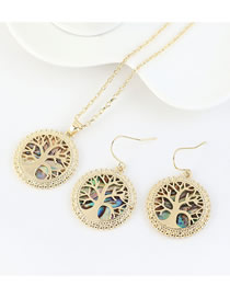 Fashion 14k Gold Real Gold Plated Lucky Tree Hollow Geometric Round Earring Necklace Set