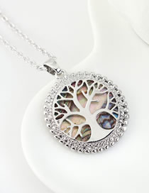 Fashion Platinum Lucky Tree Geometric Round Hollow Necklace