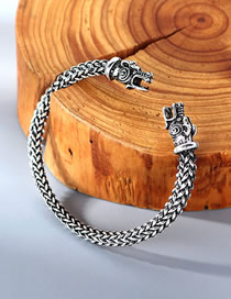 Fashion White K Dragon Head Relief Woven Open Bracelet