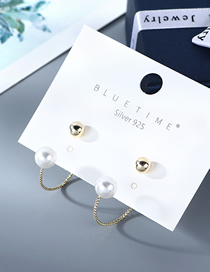 Fashion Golden Gold Plated Pearl Geometric Earrings