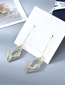 Fashion Golden Gold-plated Crystal Glass Geometric Earrings
