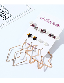 Fashion Color Mixing Resin Stars Pearl Earrings Hair Set