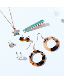 Fashion Color Mixing Resin Starfish Pearl Diamond Earrings Necklace Hairpin Set
