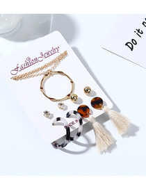 Fashion Color Mixing Resin Hoop Tassel Diamond Necklace Earring Set