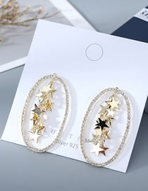 Fashion 14k Gold Real Gold-plated Five-pointed Star Diamond Earrings