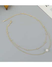 Fashion Golden Gold Plated Pearl Double Bead Necklace