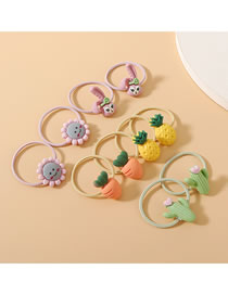 Fashion Color Mixing Resin Flower Rabbit Fruit Hair Rope Set