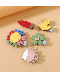 Fashion Color Mixing Flower Duck Carrot Hedgehog Hairpin Set