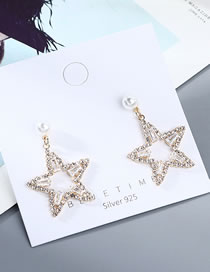 Fashion Golden Real Gold Plated Small Star Pearl Hollow Earrings