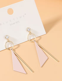 Fashion Pink True Gold Plated Frosted Zircon S925 Silver Pin Earrings