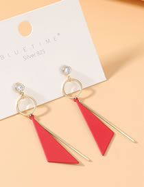 Fashion Red True Gold Plated Frosted Zircon S926 Silver Pin Earrings