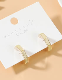 Fashion Light Yellow True Gold Plated S925 Silver Pin Stud Earrings