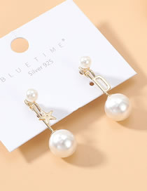 Fashion Pearl True Gold Plated Pearl S925 Silver Pin Earrings