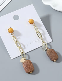 Fashion Yellow Fringed Wood Alloy Earrings