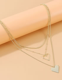 Fashion Golden Peach Heart Love Multilayer Necklace