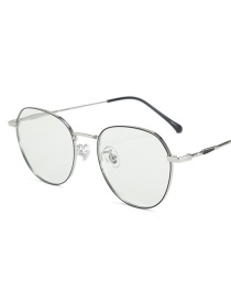 Fashion Black Silver Frame-after Changing Color Anti-fatigue And Anti-blue Light Non-degree Flat Mirror Glasses Frame