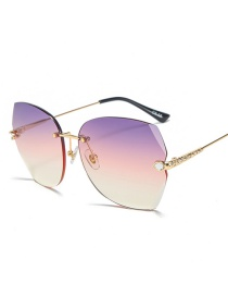 Fashion Gold Frame Purple Pink White Frameless Trimmed Diamond Sunglasses