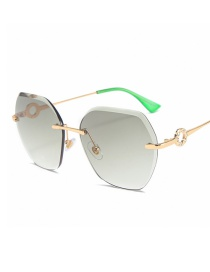 Fashion Gold Frame Gradient Green Frameless Diamond Sunglasses With Irregular Cut Edges