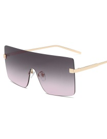 Fashion Put On Dust Large Square Gradient Alloy Sunglasses