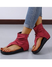 Fashion Wine Red Zipper Beach Sandals