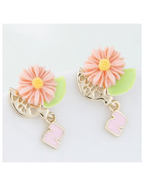 Fashion Pink Resin Alloy Hollow Flower Earrings