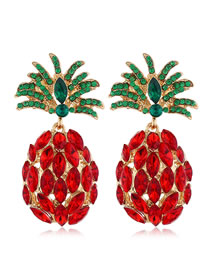 Fashion Red Diamond Alloy Stud Earrings