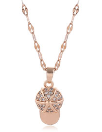Fashion Rose Gold Copper Micro Inlay Zirconium Cap Necklace