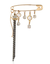 Fashion Golden Crown Diamond Pearl Tassel Alloy Brooch
