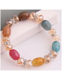 Fashion Color Mixing Crystal Diamond Braided Elastic Bracelet