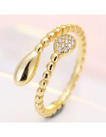 Fashion Golden Zircon-set Drop-shaped Alloy Open Ring