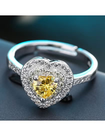 Fashion Yellow Heart-shaped Zircon Alloy Contrast Color Open Ring