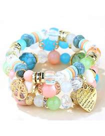 Fashion Blue Love Tree Of Life Alloy Hollow Multilayer Bracelet