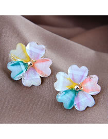 Fashion Color Mixing Resin Flower Contrast Alloy Earrings