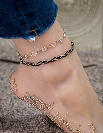 Fashion Black Alloy Resin Double-layer Anklet  Alloy