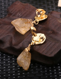 Fashion Golden Natural Volcanic Stone Alloy Ear Pierced Ear Clip