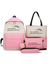 Fashion Pink Rainbow Letter Print Contrast Backpack