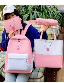 Fashion Pink Soda Cat Print Stitching Contrast Color Backpack Four-piece Set