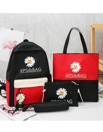 Fashion Black And Red Four-piece Daisy Letter Print Backpack