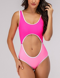 Fashion Pink Splicing Contrast Color Cutout One-piece Swimsuit